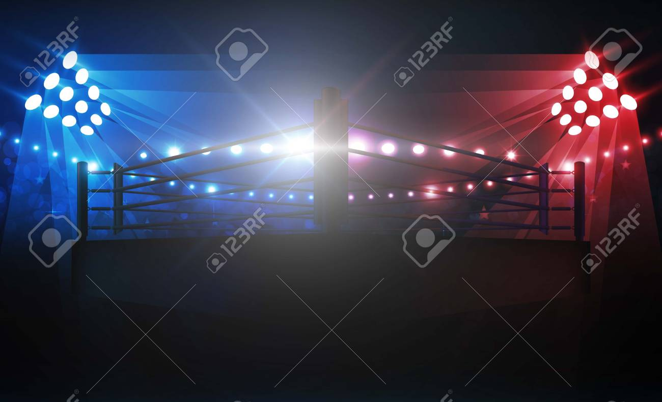 Boxing ring arena and floodlights vector design. Vector illumination - 114905728