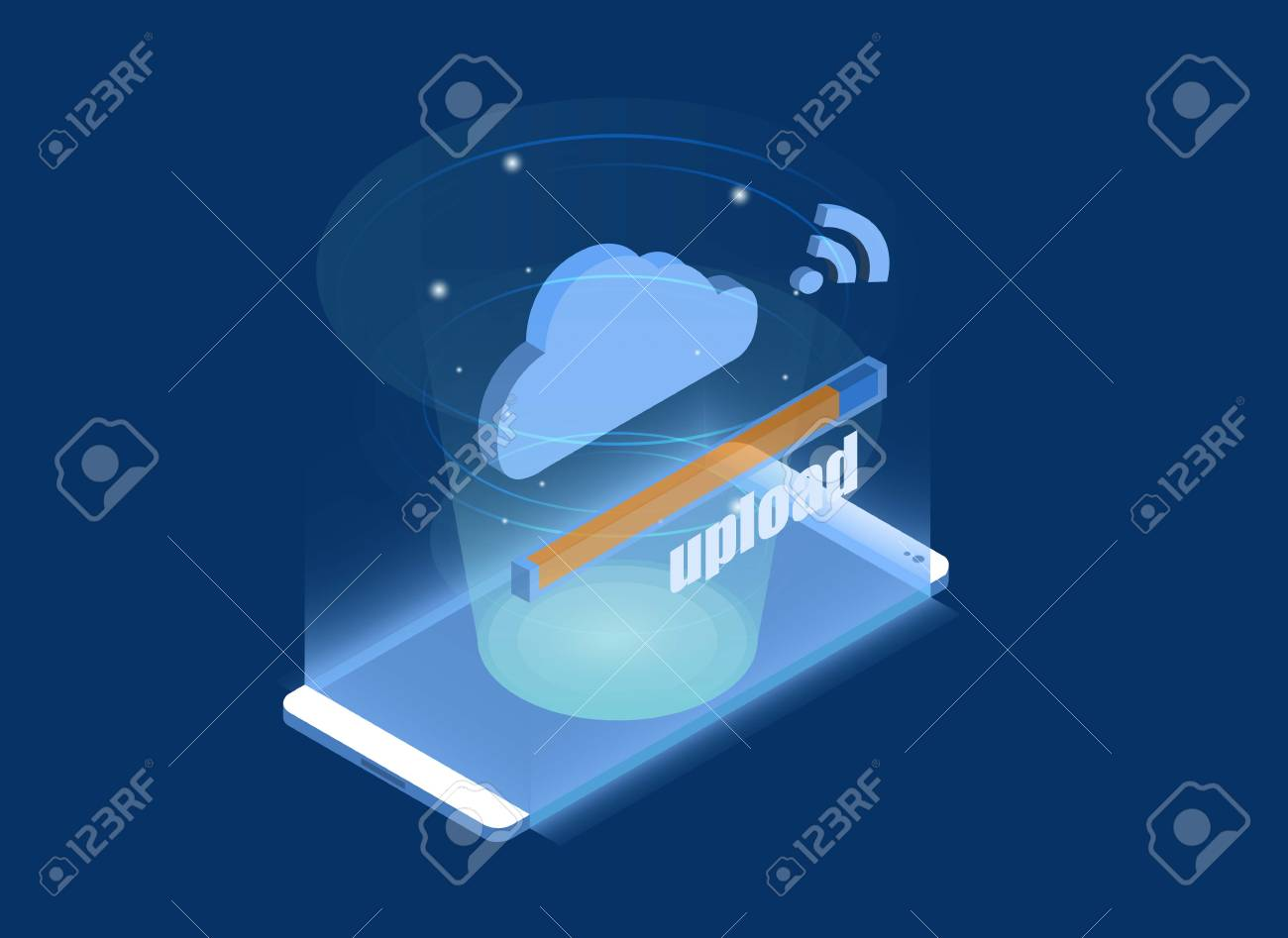 Smartphone Touchscreen mobile phone glows and Progress upload and download data information in cloud storage of corporation network. 3d isometric flat design. Vector illustration. - 118658972