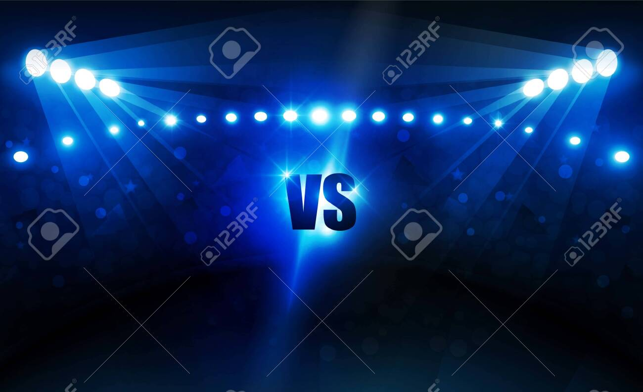 Football arena field with bright stadium lights vector design Vector illumination - 127191427