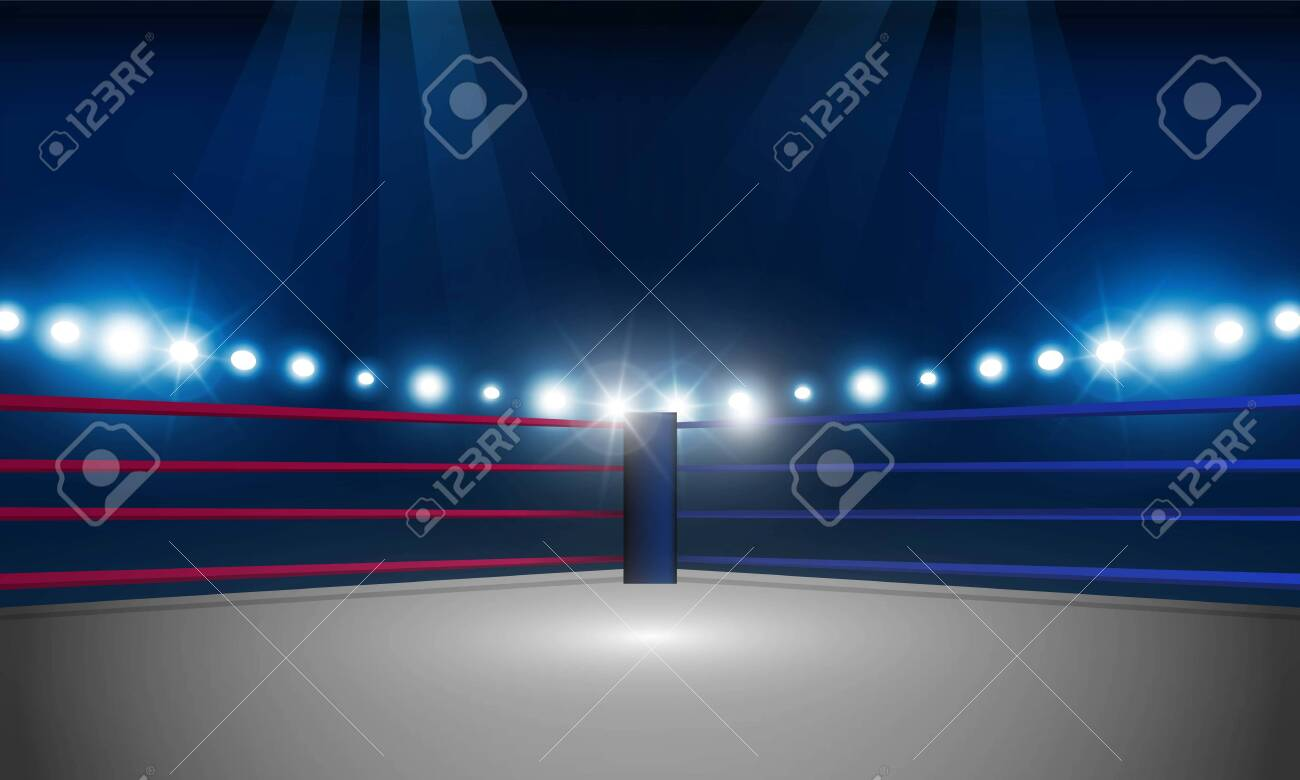 Abstract bokeh Light gold color with soft light Boxing ring arena and spotlight floodlights vector design. - 130776260