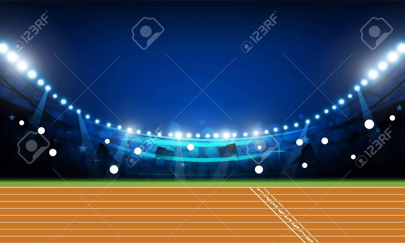 Running track arena field with bright stadium lights at night vector design - 139153045