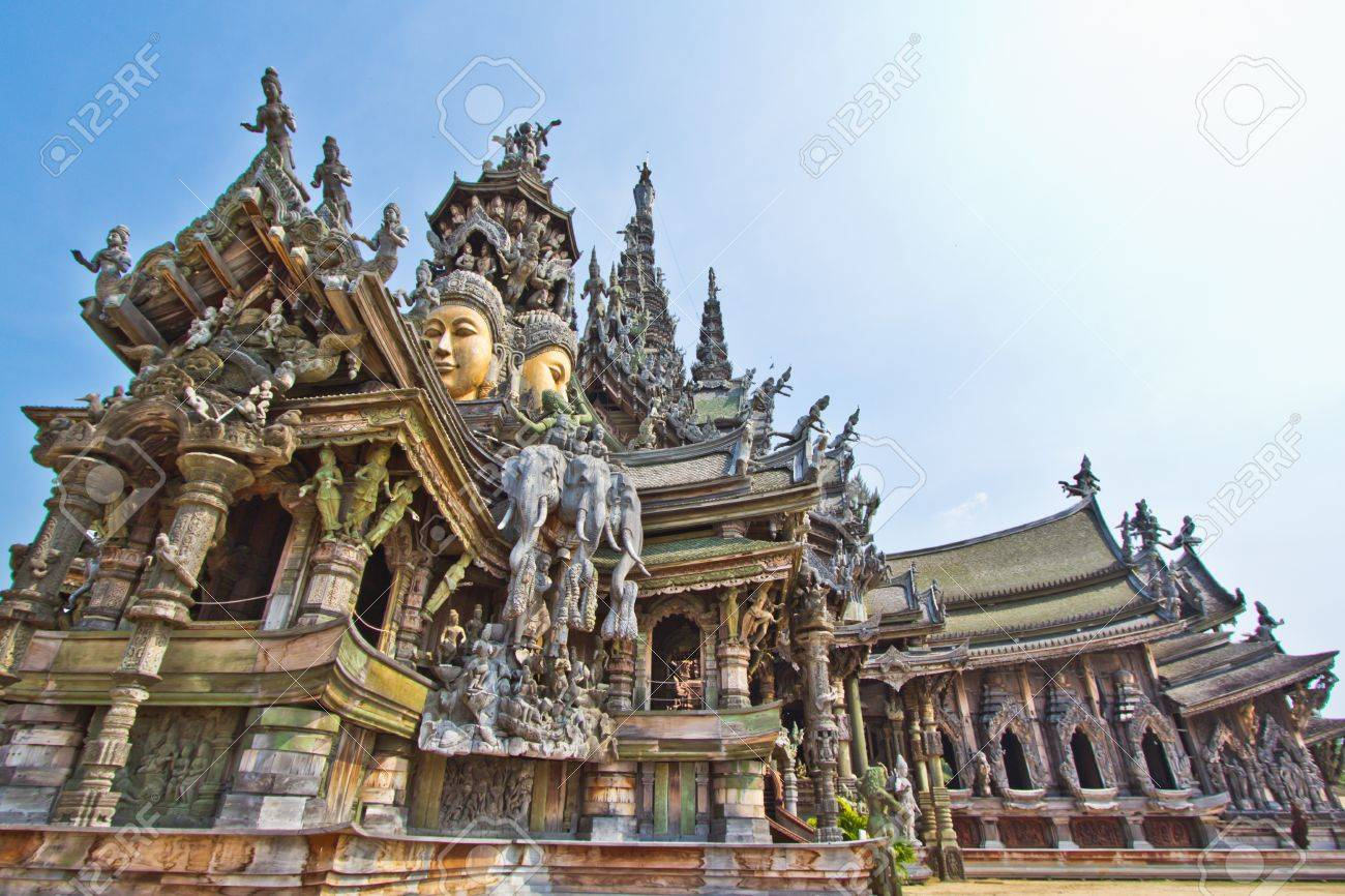 Sanctuary of Truth temple in thailand - 13538817