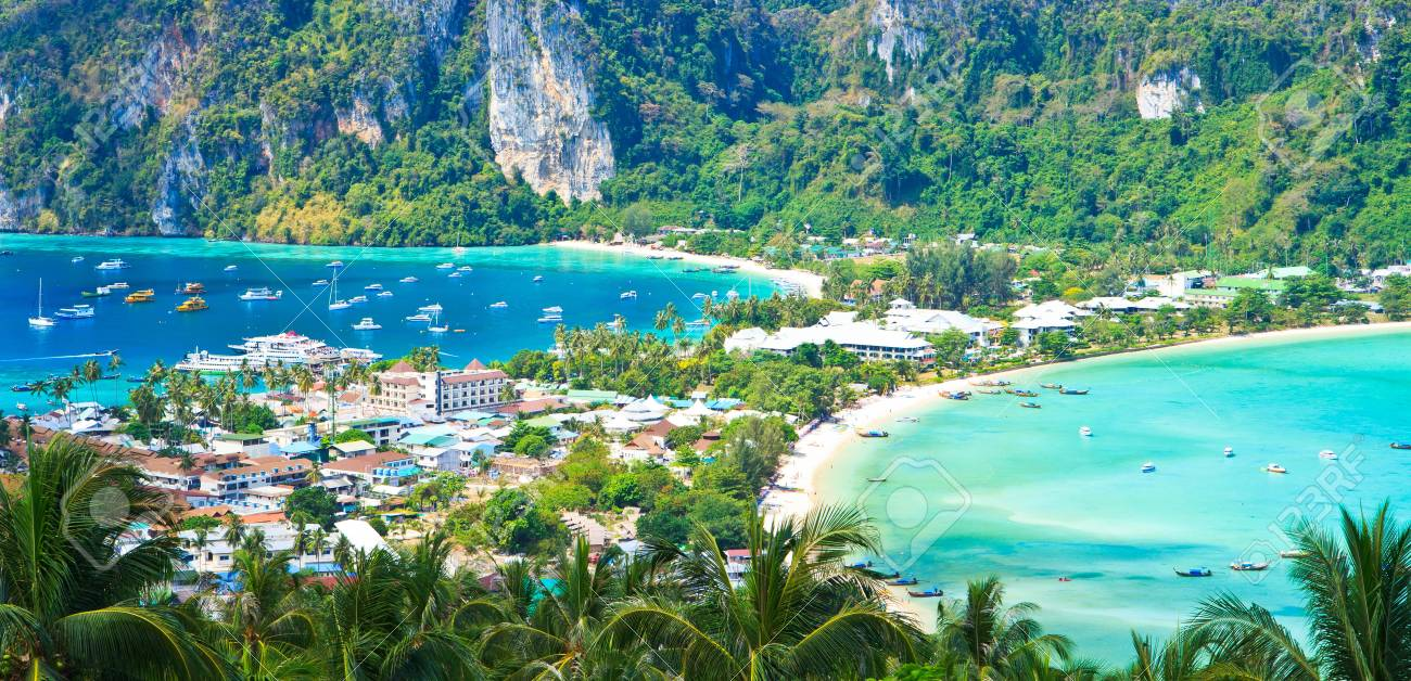 View tropical island with resorts - Phi-Phi island, Krabi Provin thailand Stock Photo - 19027765