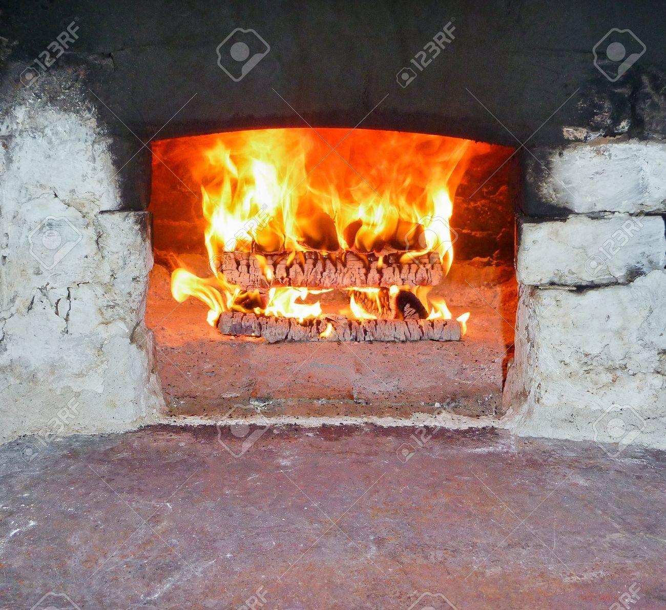 Burning Firewood in the brick Furnace Stock Photo - 13382260