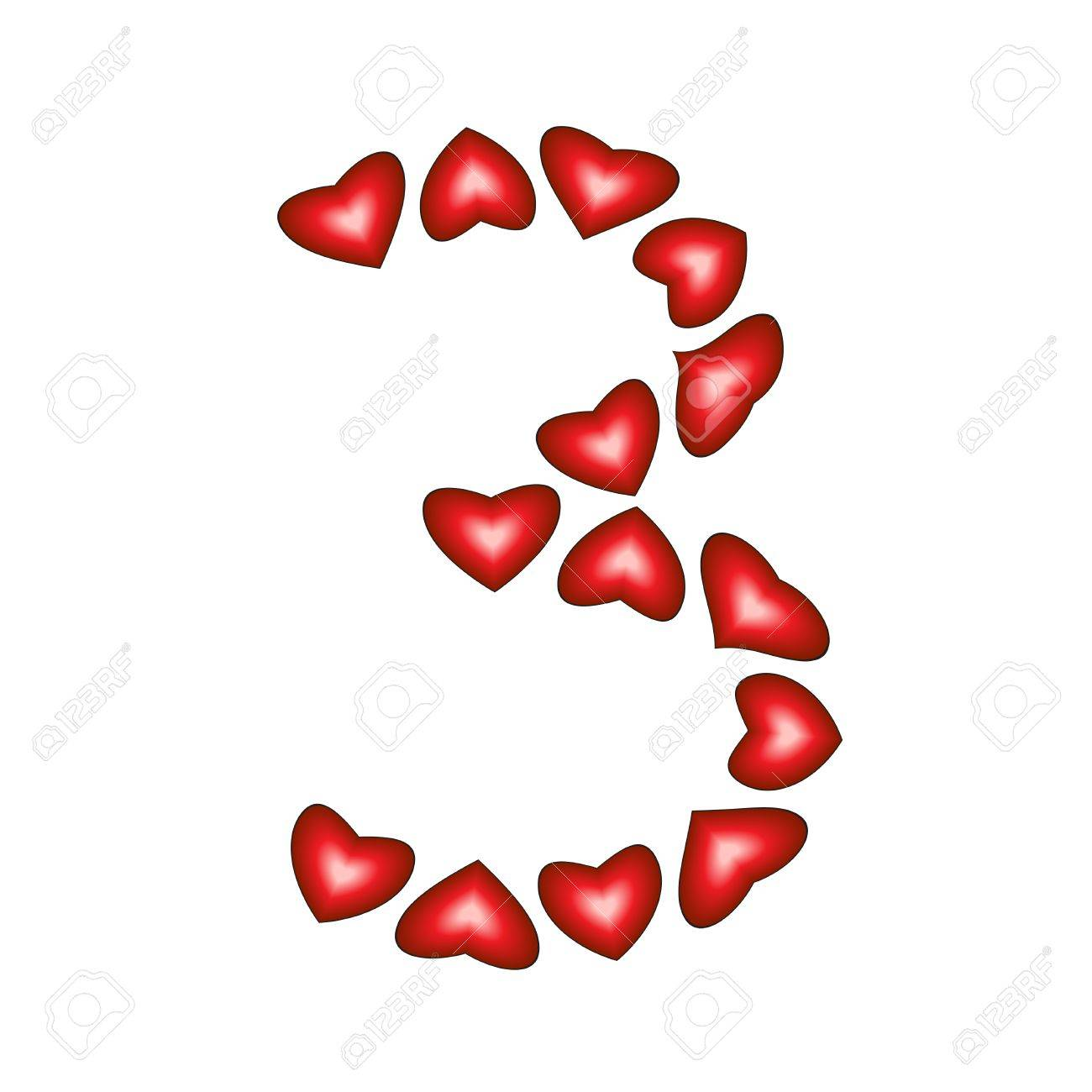 Number 3 made of hearts on white background Stock Vector - 15139209