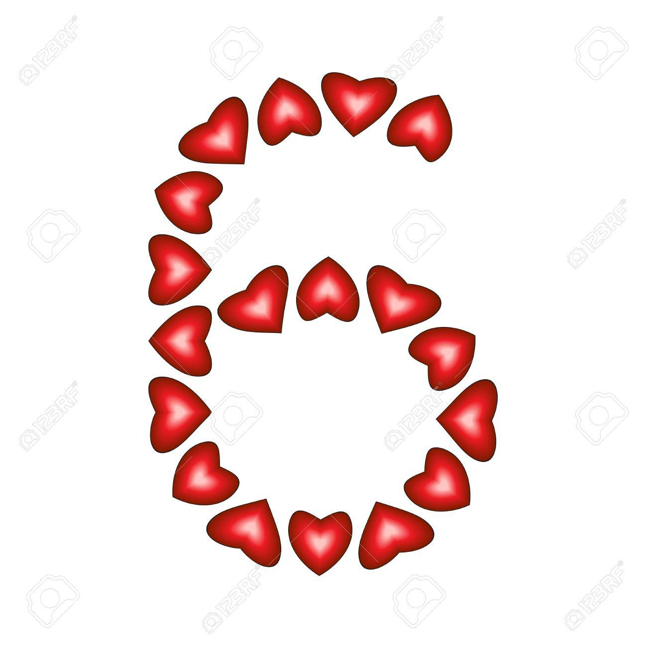 Number 6 made of hearts on white background Stock Vector - 15139217