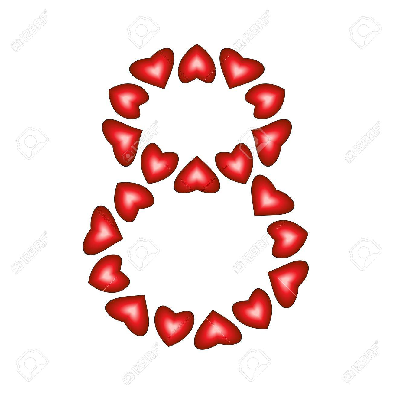 Number 8 made of hearts on white background Stock Vector - 15139219