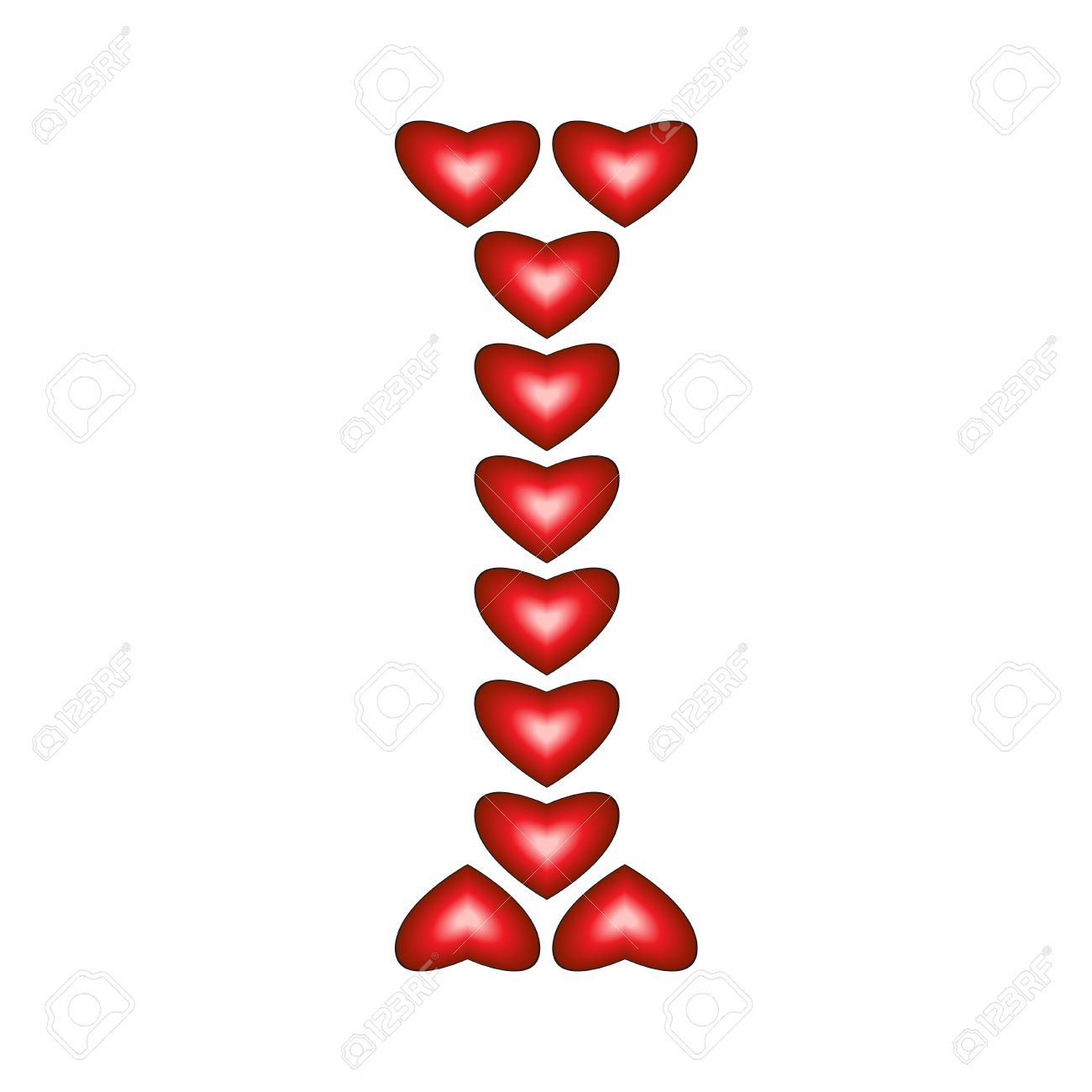 letter i made of hearts on white background royalty free cliparts