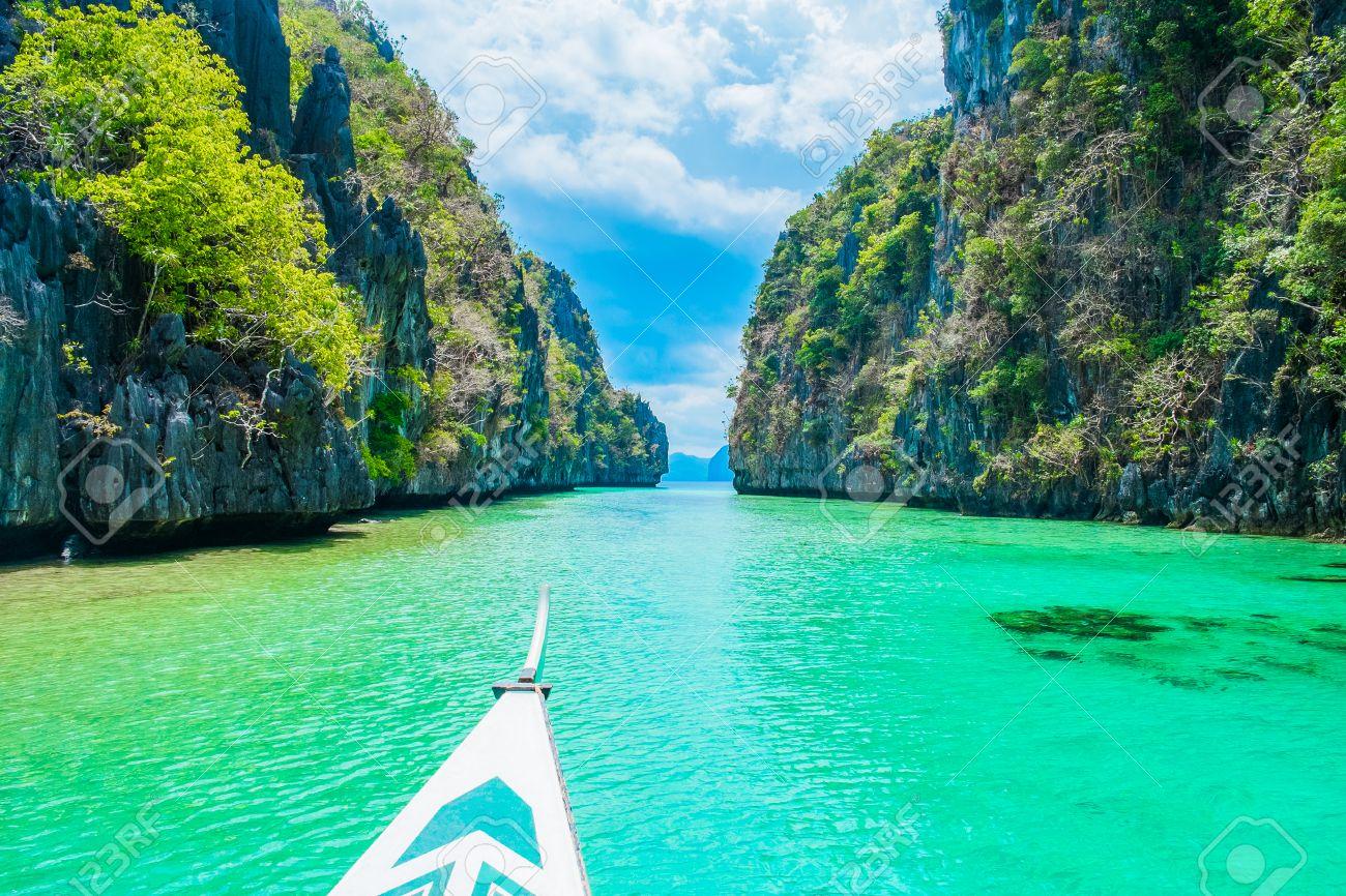Boat Trip In Blue Lagoon El Nido Palawan Philippines