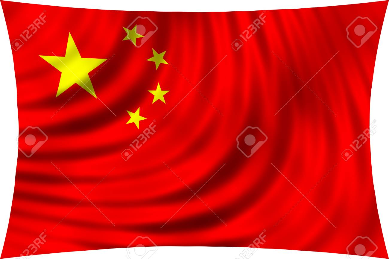 Flag Of China Waving In Wind Isolated On White Background Chinese