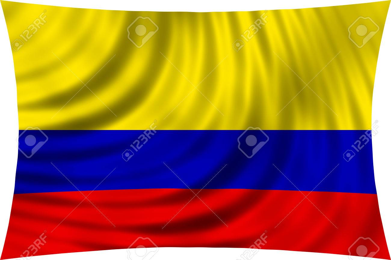 Flag Of Colombia Waving In Wind Isolated On White Background