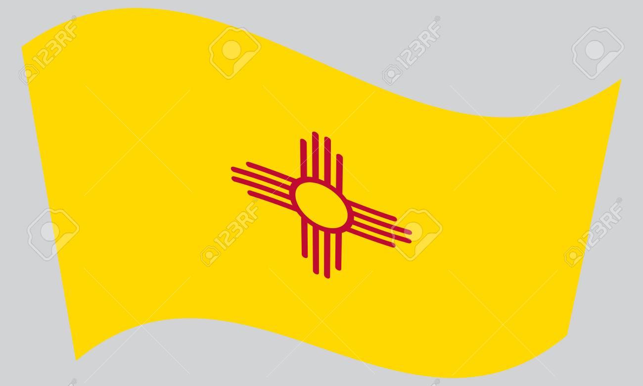New Mexican Official Flag Symbol American Patriotic Element