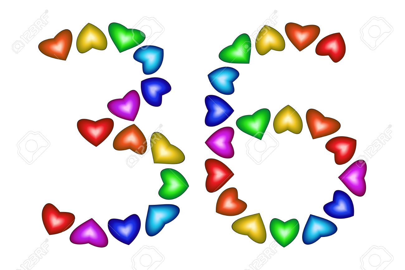 Nummer 36 Der Bunten Herzen Auf Weiß Symbol Für Alles Gute Zum