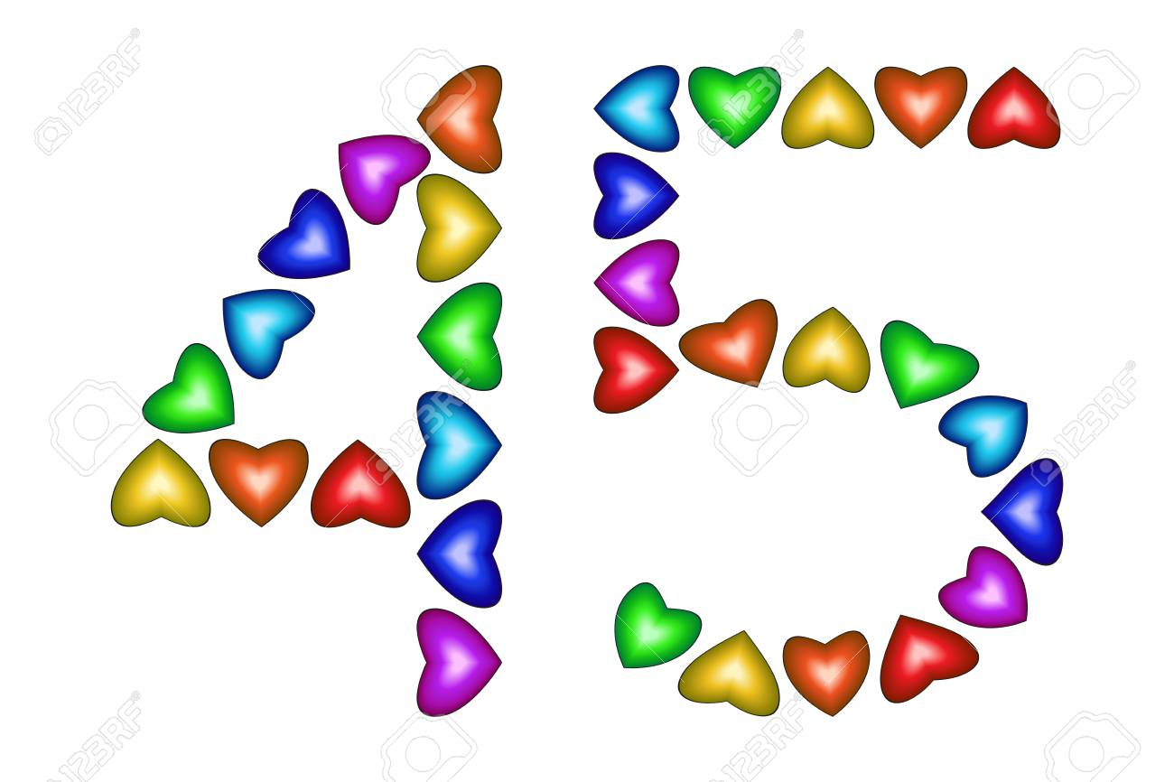 Number 45 Of Colorful Hearts On White Symbol For Happy Birthday