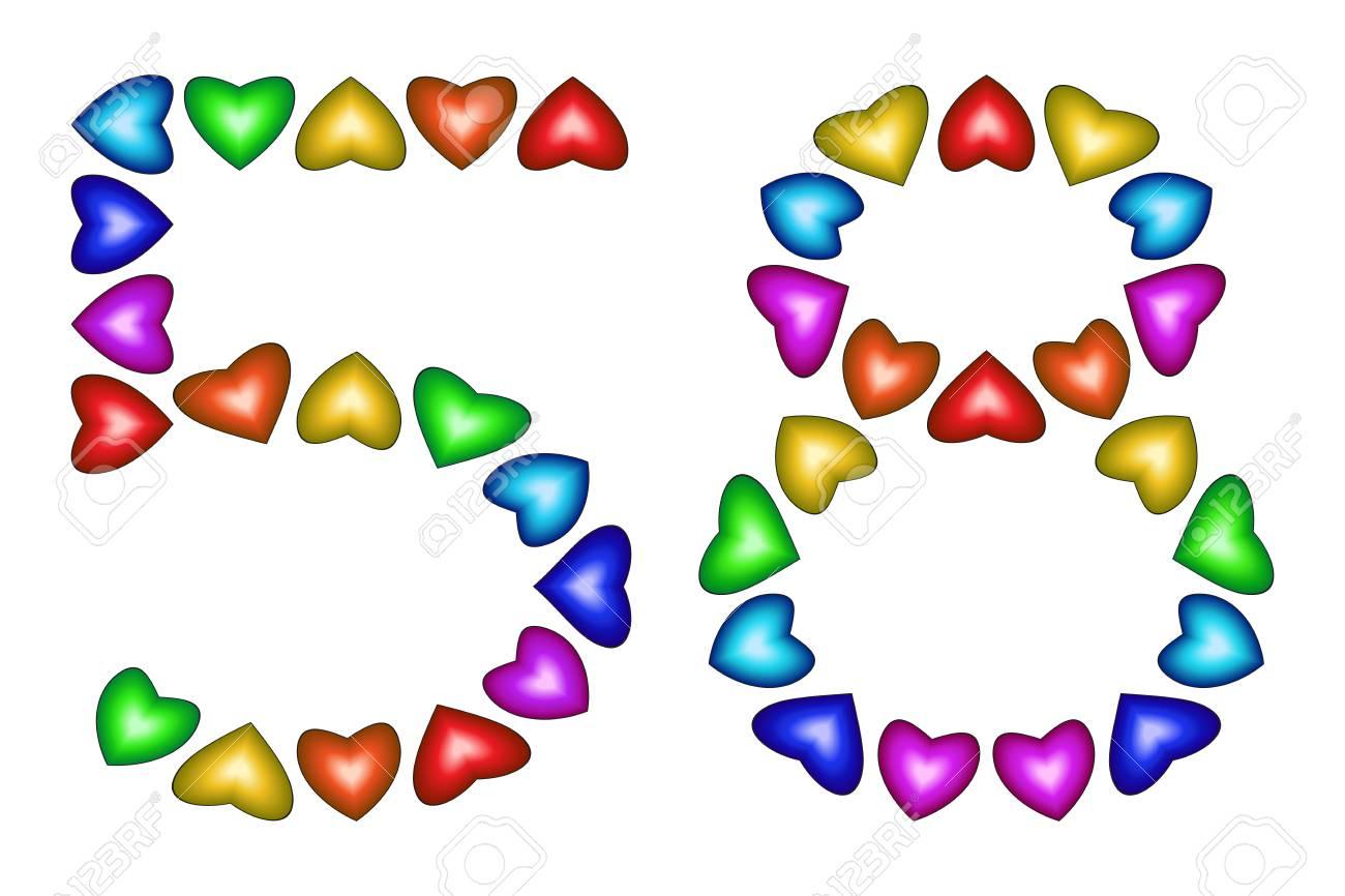Numero 58 De Coeurs Colores Sur Blanc Symbole Pour Joyeux Anniversaire Evenement Invitation Carte De Voeux Prix Ceremonie Signe Anniversaire De Vacances Icone Multicolore Cinquante Huit Couleurs Arc En Ciel Vecteur Clip Art Libres De
