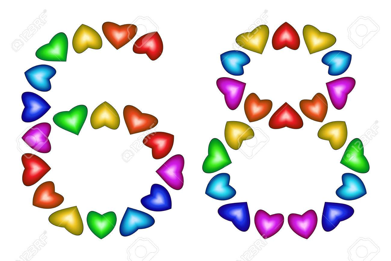 Number 68 Of Colorful Hearts On White Symbol For Happy Birthday