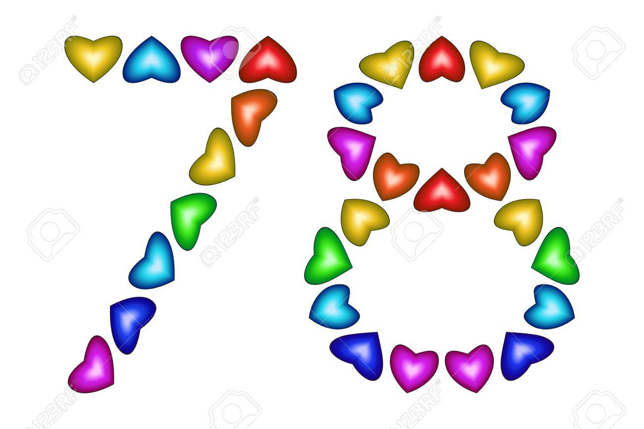 Number 78 Of Colorful Hearts On White Symbol For Happy Birthday