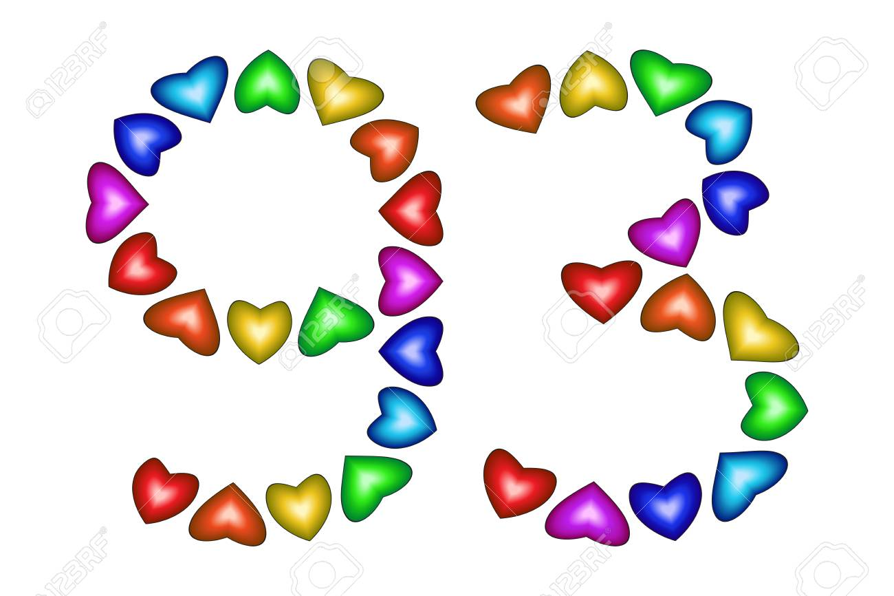 Number 93 Of Colorful Hearts On White Symbol For Happy Birthday