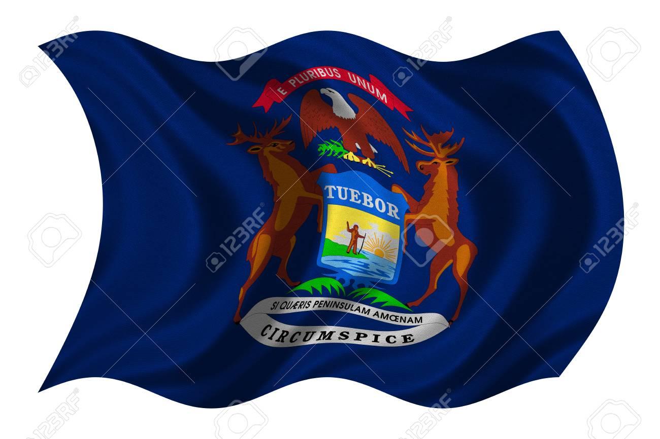 Bandera Del Estado De Michigan. Elemento Patriótico Americano. EE.UU ...