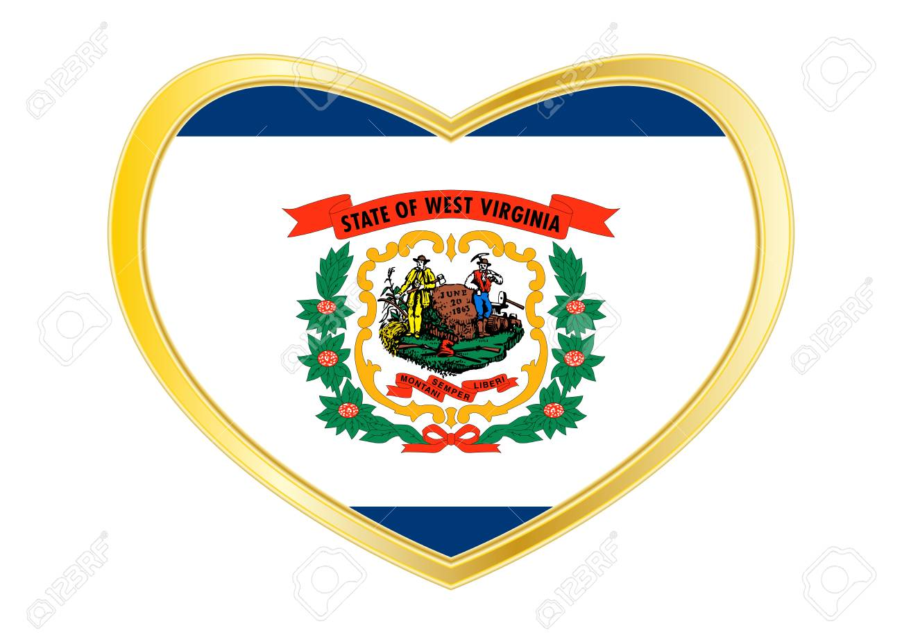Flagge Des US-Bundesstaates West Virginia. Amerikanisches ...