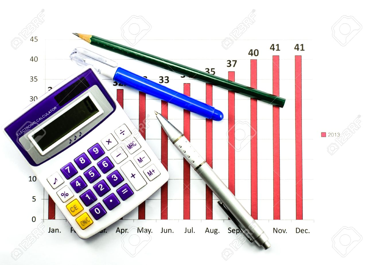 Bar graph data with calculator ballpoint pen pencil and correction bar graph data with calculator ballpoint pen pencil and correction pen stock photo ccuart Image collections