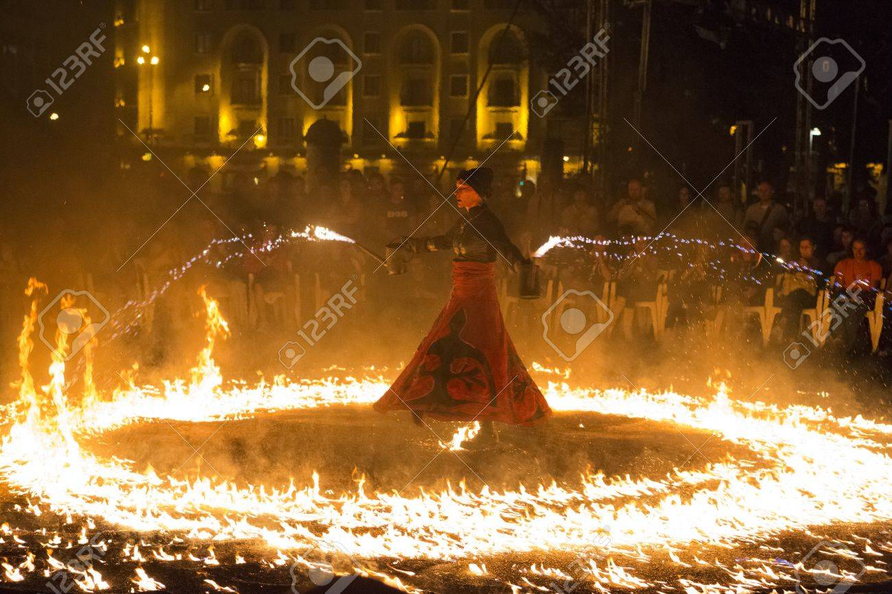 BUCHAREST, ROMANIA - SEPTEMBER 13: Lara Castiglioni performs Snow of Fire show during B-FIT in the Street, International Street Theater Festival on 