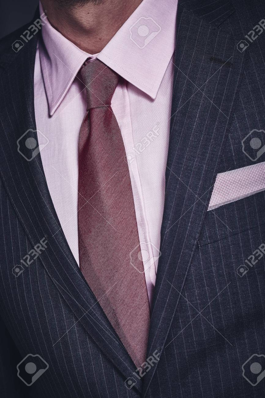Closeup Of Stylish Office Suit With Dark Grey Jacket With