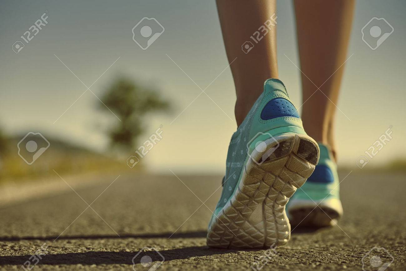 Of Feet In Female Shoes On Athlete The Closeup Jogging Running 2IDEWH9