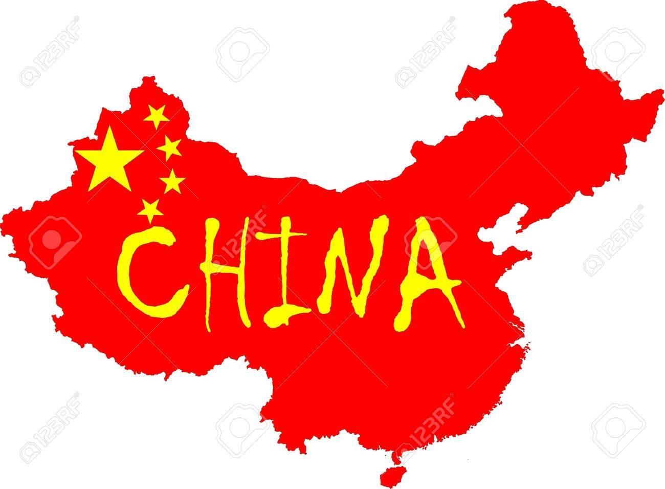 Drapeau De Chine le drapeau chinois étoiles jaunes et drapeau de couleur rouge placé