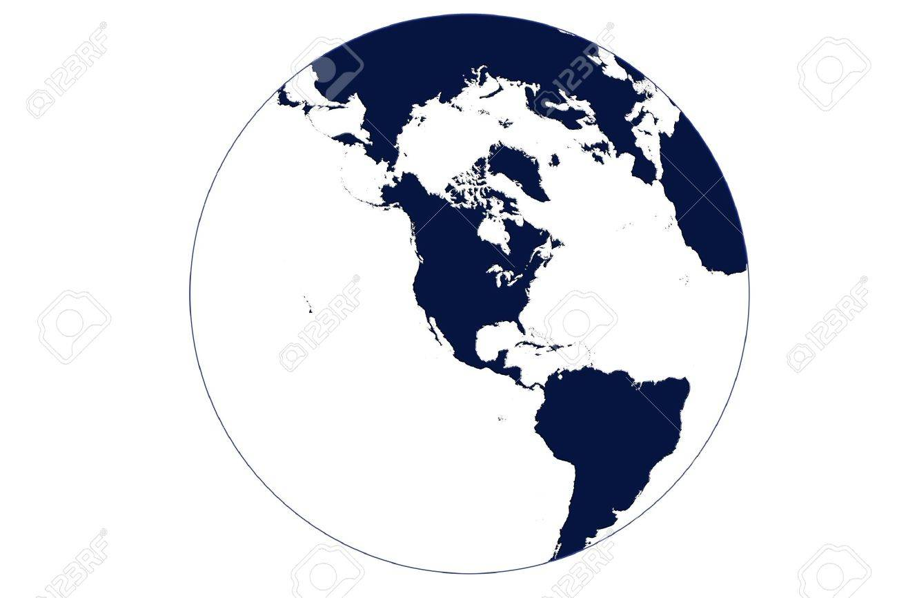 Globe Map Of The World Centered On USA In Blue With White Oceans - Usa globe map