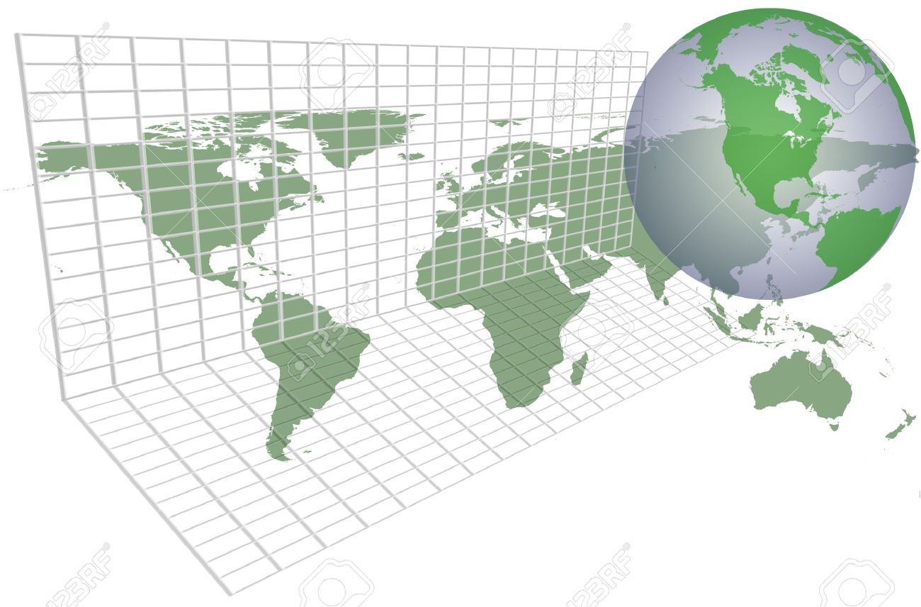 World Map Of Continents And Countries.Green World Map Over Grid With Continents And Countries Stock Photo