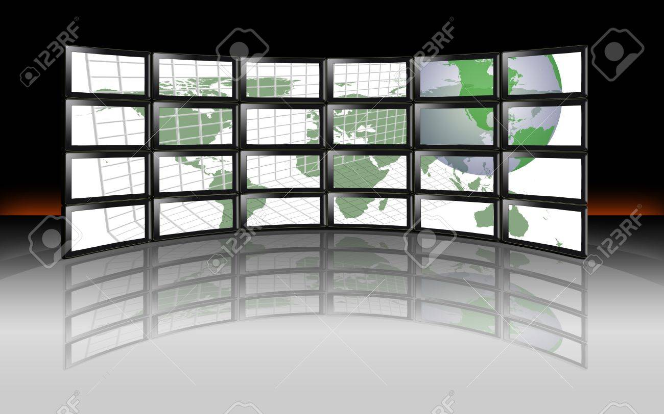 A wall of hd tv lcd plasma digital television monitors with global a wall of hd tv lcd plasma digital television monitors with global world earth map of gumiabroncs Image collections