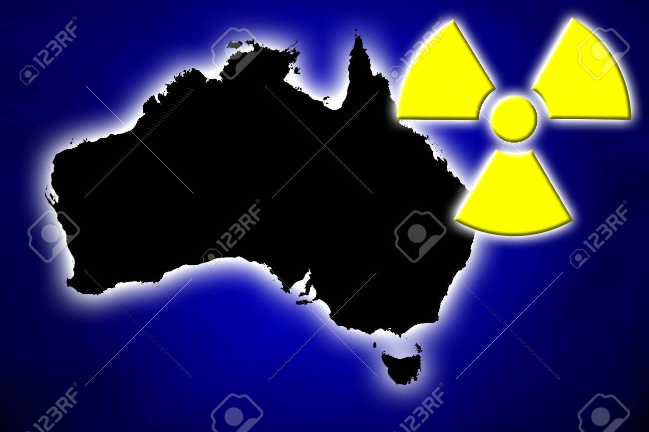Nukleare Strahlungen Symbol über Glühende Elektrische Karte ...