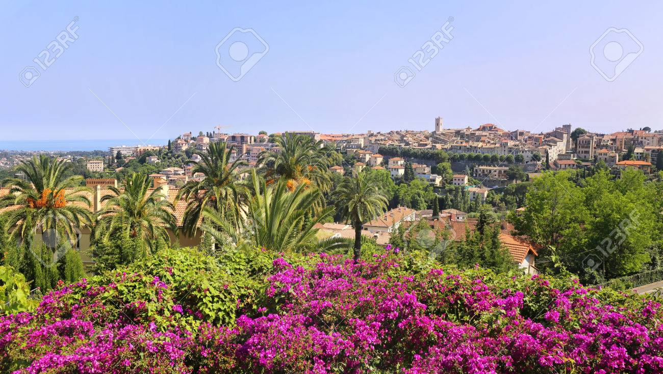 Southern France, landscape. French Riviera, view of the Vence village from the Matisse Chapel - 81668584
