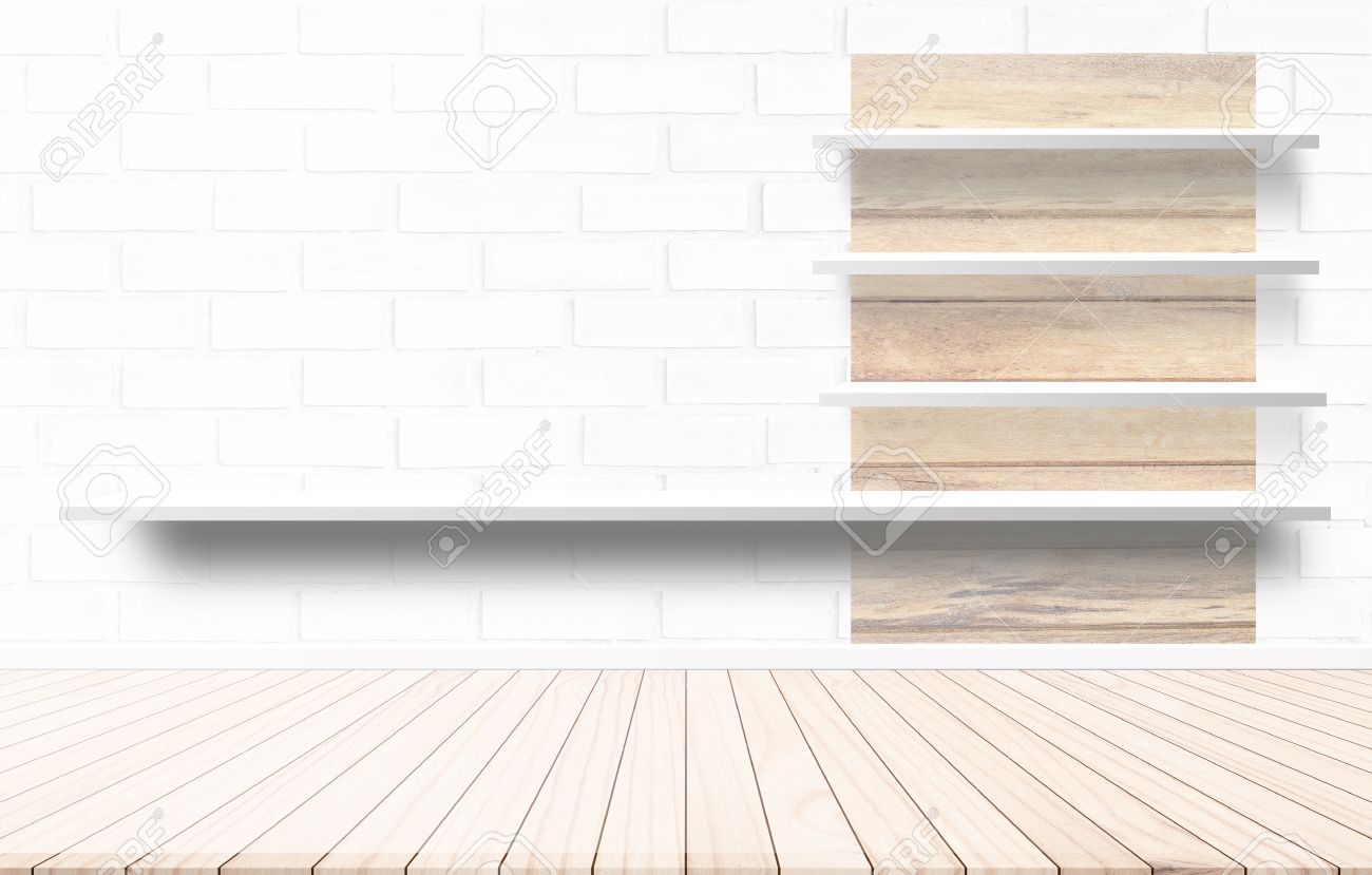 Stock Photo   Wood Terrace With A Background Cement Wall Shelf Design Ideas  Within The Building.Wood Floors On Background Style White Shades. Furniture  ...
