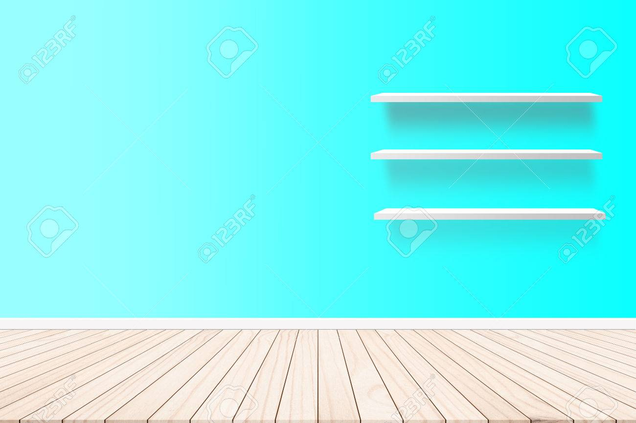 Stock Photo   Wood Terrace With A Background Cement Wall Shelf Design Ideas  Within The Building.Wood Floors On Background Style Pastel Shades. Furniture  ...