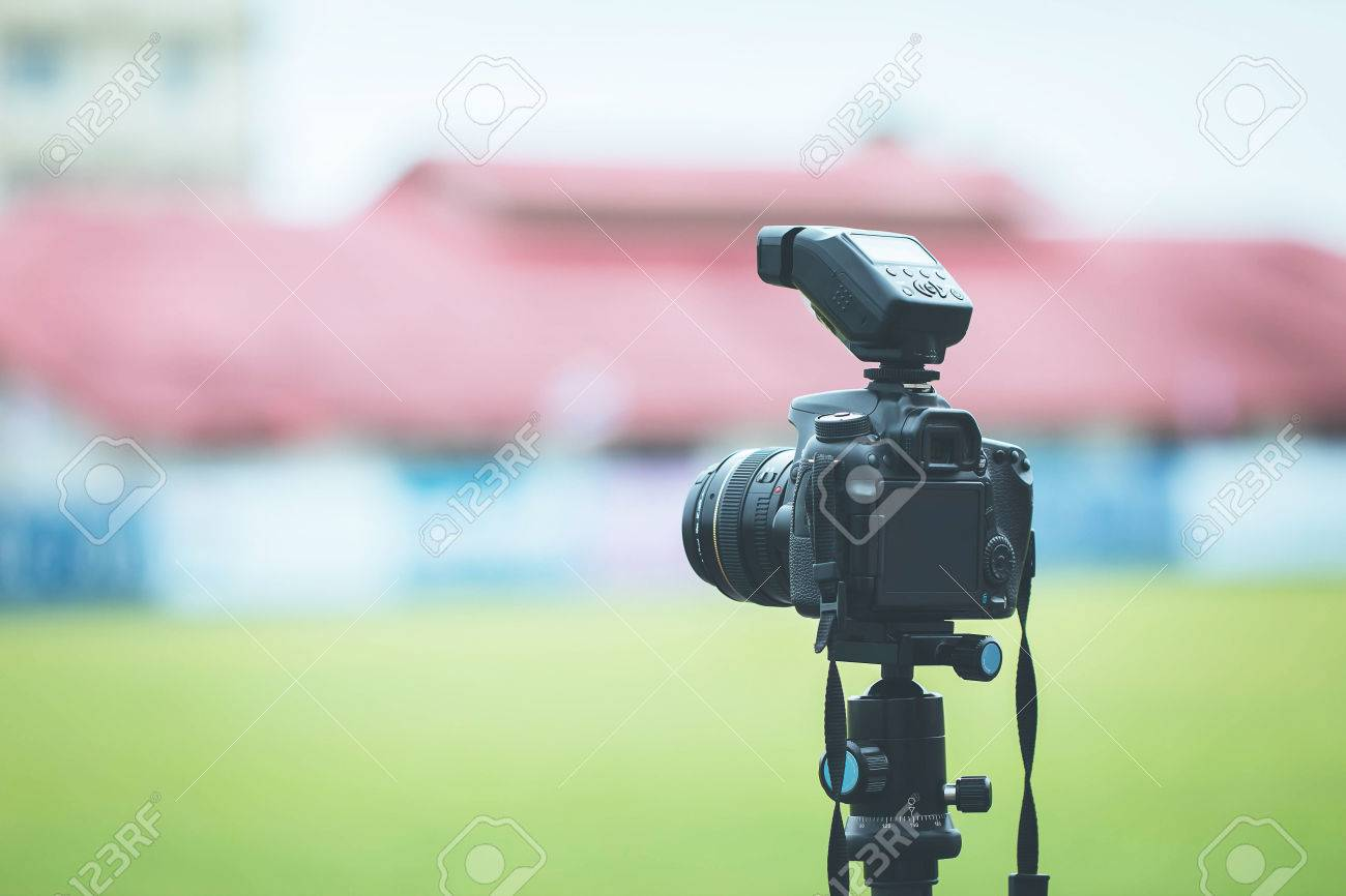 Rear Dslr Camera With Tripod Blurred Background Stock Photo