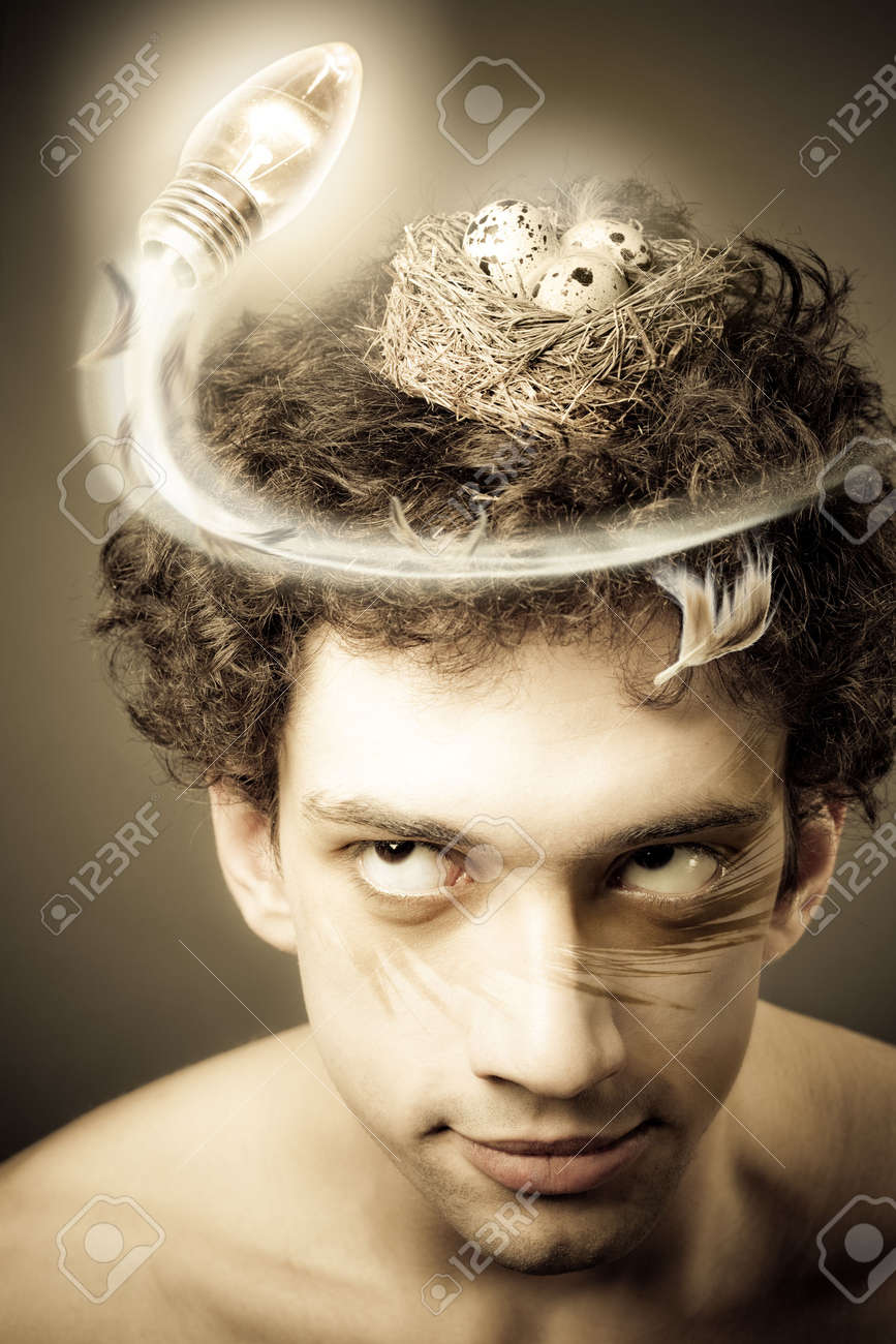 Man with nest on his head looking up flying light bulb. Creativity conceptual image Stock Photo - 4610459