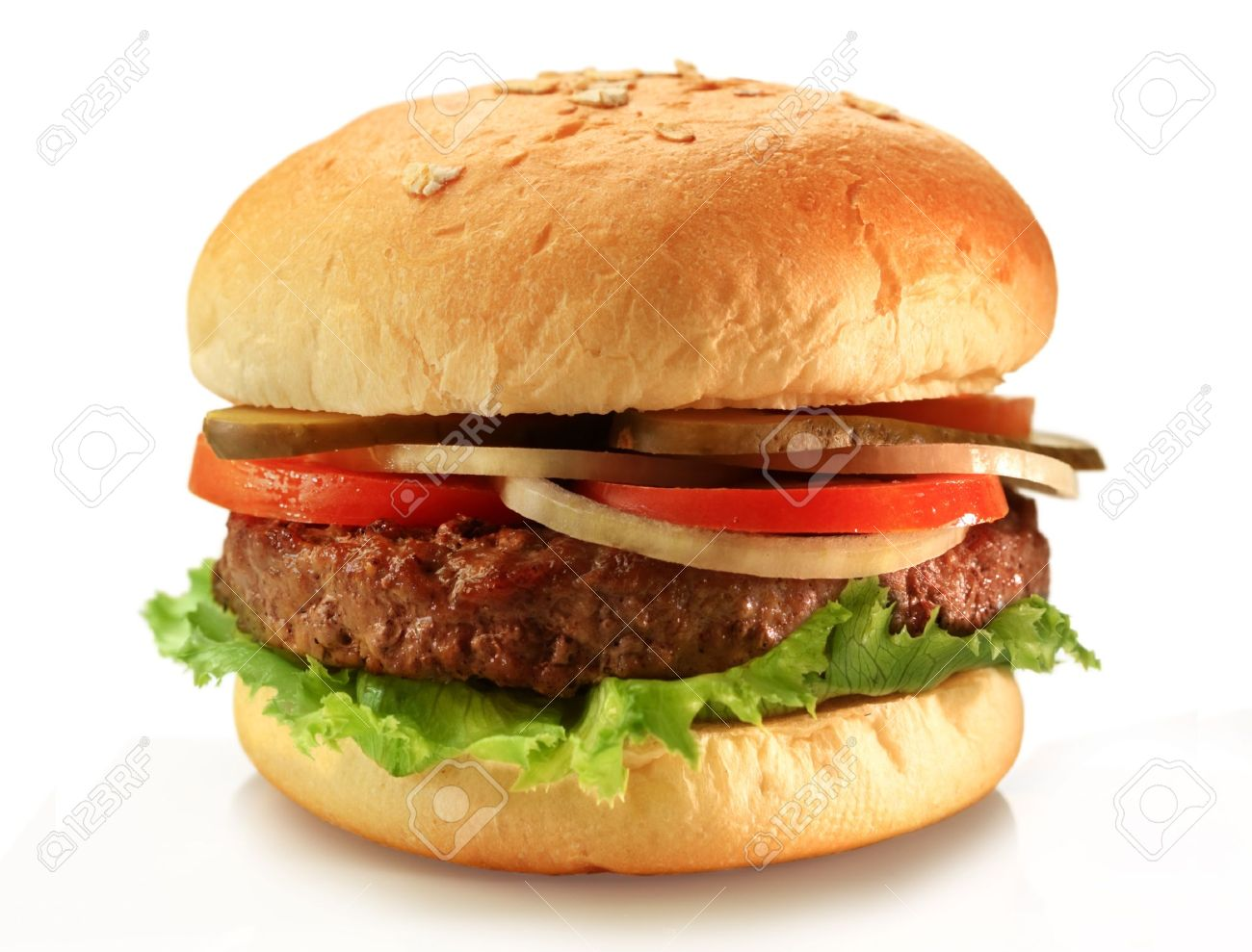 Delicious juicy grilled burger on wheat buns Stock Photo - 12156625