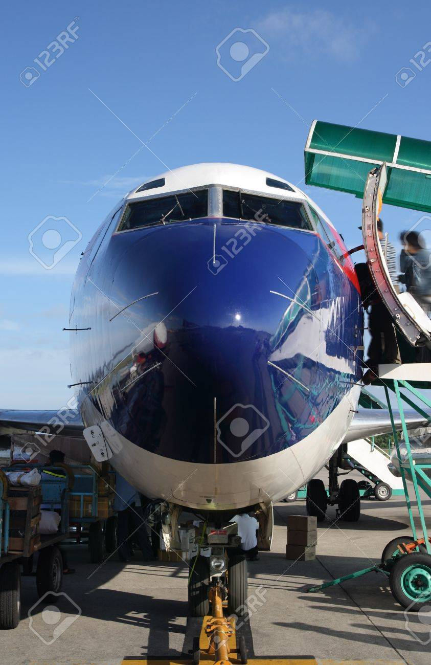 frontal view of passenger airplane in airport Stock Photo - 12156644