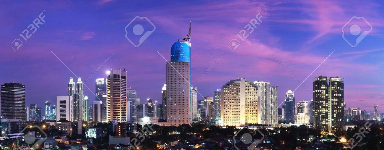 Panoramic cityscape of Indonesia capital city Jakarta at sunset Stock Photo - 12156647