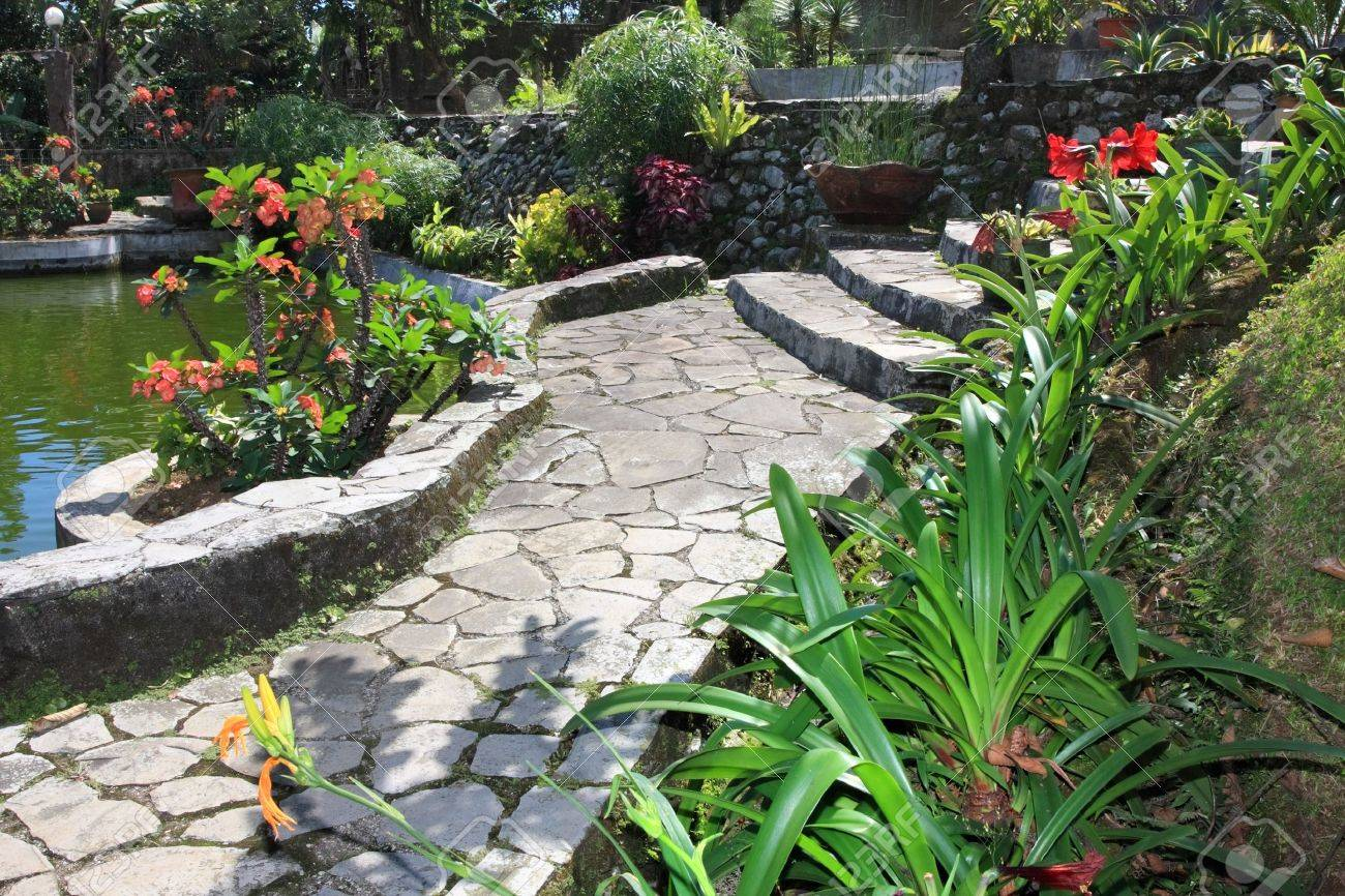 natural stone garden with pond stock photo picture and royalty