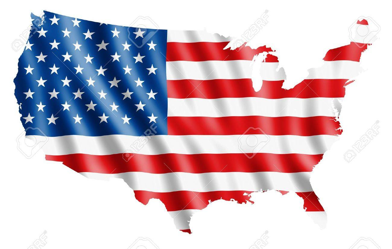 USA map with rippled flag on white illustration - 12955571