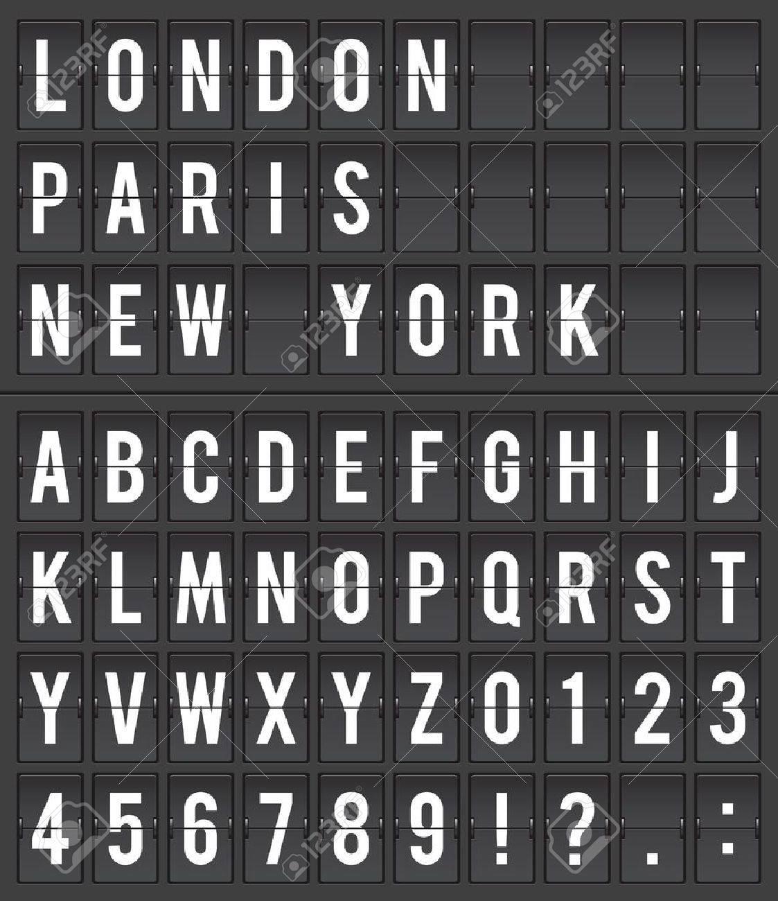 Flight destination information display board vector illustration - 17881407