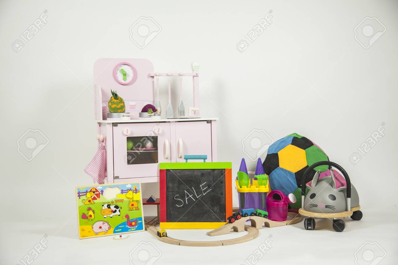 Children Toys Isolated In A White Background. Wood Train, Kitchen ...