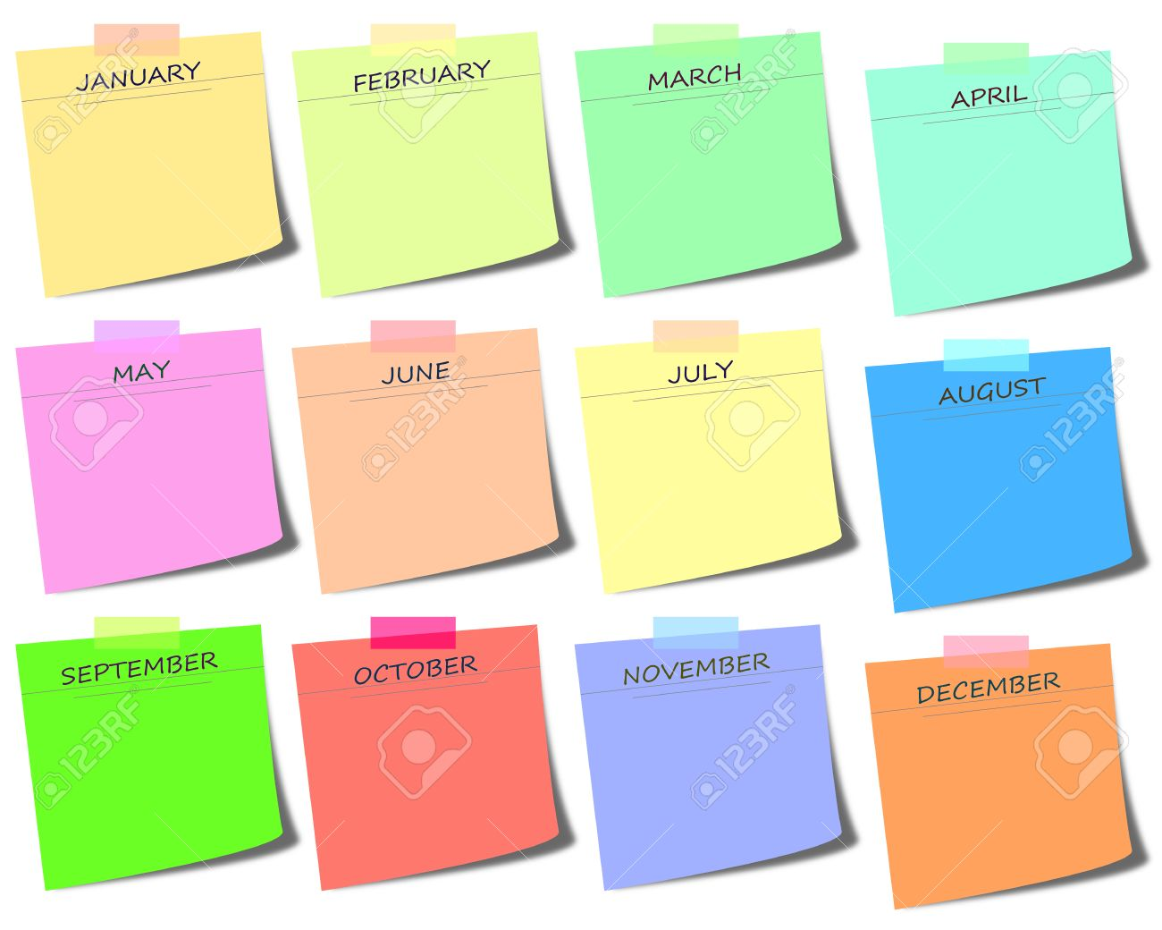 colorful sticky notes with months calendar icon illustration stock