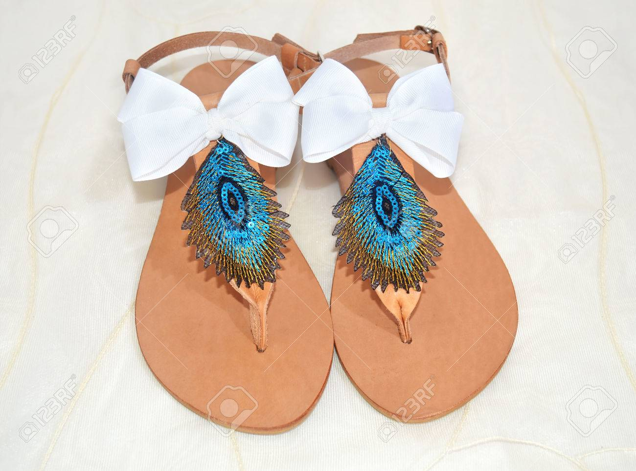 Greek Leather Sandals With Peacock Feather The Symbol Of Goddess