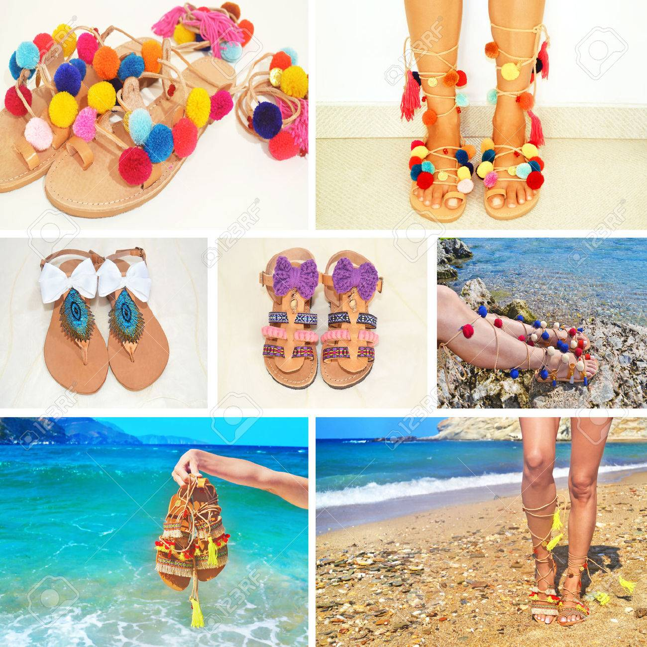 prezzo limitato Miglior prezzo vendita calda Collage di foto di sandali greci bohemien - accessori di moda pubblicità
