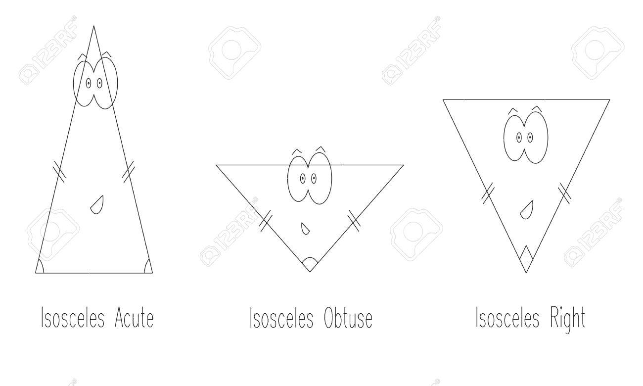types of isosceles triangle vector geometry shapes for kids