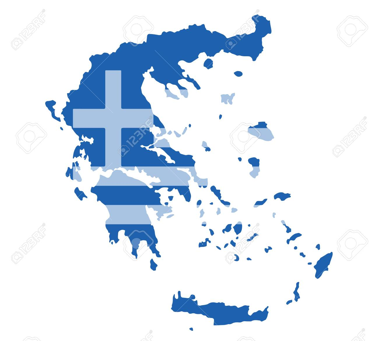 Greece Map Vector With The Greek Flag On White Background Royalty ...